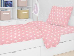 Σεντόνια Μονά (Σετ) 160X240 Dimcol Star 32 Ροζ Χωρίς Λάστιχο
