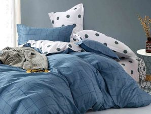 Σεντόνια Μονά (Σετ) 170X260 Melinen Dot Boy Blue Χωρίς Λάστιχο
